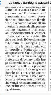 La Nuova Sardegna stralcio art,. 02 ottobre 2017